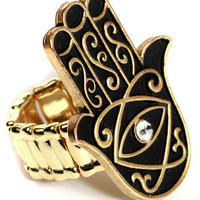 GYPSY WARRIOR - Gold Evil Eye Hamsa Ring