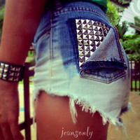 Vintage high waisted studded ombre cut off shorts denim by Jeansonly