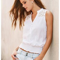 SLEEVELESS CROCHET DETAIL TOP