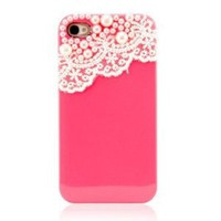 Amazon.com: Hand Made Lace and Pearl Hot Pink Hard Case Cover for iPhone 4, 4G and 4S: Cell Phones & Accessories