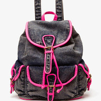 Neon Trim Denim Backpack | FOREVER 21 - 1022509844
