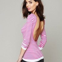 Free People Striped Low Back Top