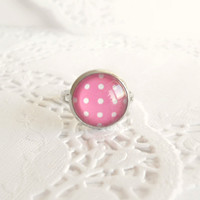 Pretty Hot Pink & White Polka Dot Glass Cabochon Ring in Silver - Retro Style Jewelry - Valentines Day Gift Ideas