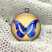royal blue butterfly print on grunge paper 30mm glass 24 inch necklace