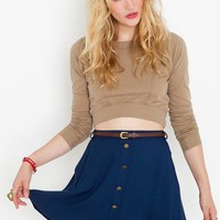 Sedona Belted Skirt - Navy in Clothes Bottoms Skirts at Nasty Gal