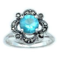 ANTIQUE Style BLUE TOPAZ & MARCASITE 925 Silver RING