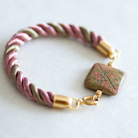 Olive and Pink Jasper Rope Bracelet by pardes by pardes on Etsy