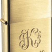 Zippo Brushed Finish Brass Armor Heavy Wall Lighter with Free Engraving