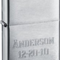 Zippo Brushed Chrome Lighter with Free Engraving