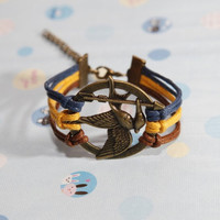 Hunger game bracelet- Bronze Hunger game with Navy blue,orange,brown wax cord bracelet,friendship bracelet best gift