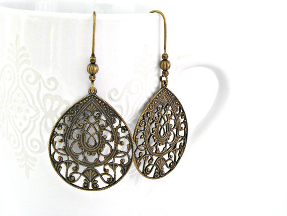 Filigree brass earrings by TyssHandmadeJewelry on Etsy