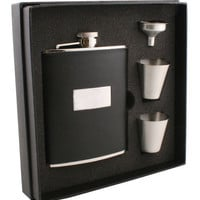 "Visol ""Ontario"" Black Leather 6oz Deluxe Flask Gift Set"