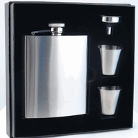 "Visol ""Derek"" Satin Finish 8oz Deluxe Flask Gift Set"