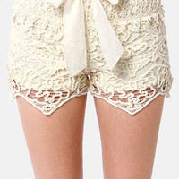 Lost Coronado Cream Lace Shorts