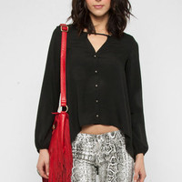 Louis Button Blouse in Black :: tobi