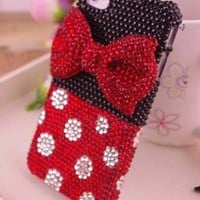 NEW Handmade Bling sparkle diamond crystal pearl iphone 4 4s case cover BOW /C1