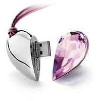 Amazon.com: 8GB Shiny Crystal Heart Shape USB Flash Drive with Necklace,light pink: Computers & Accessories