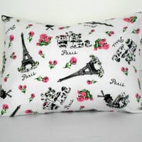 White and Pink Pillow Cover Paris Decor 12 X 16 inches