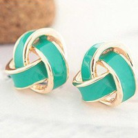 Retro Vintage Green Flower Earrings stud