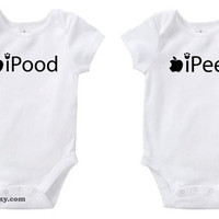 Ipood & Ipeed Cute Twins / Baby Funny Humor by bareit on Etsy