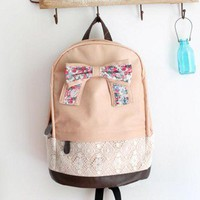Fashion Cream Backpack with Red Floral Bow & Lace-light pink