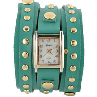 Wraparound Leather Watch - Teal Watch - Studded Watch - $32.00