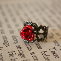 Fairy Tale Rose Ring by spacepearls on Etsy