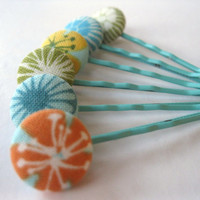 Bobby Pins Hair Accessories Non Slip Aqua Orange by Rotifera