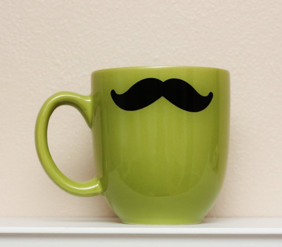 Mustache Mug  Green  Coffee Tea Latte by TheBeautifulHome on Etsy