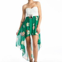floral high-low tube dress &amp;#36;35.70 in WHITEMULTI - Casual | GoJane.com