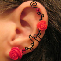 Non Pierced Ear Cuff  Briar Rose Cartilage by ArianrhodWolfchild