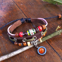 accessoryinlove — Handmade Pope Hippie Style Beads Leather Bracelet