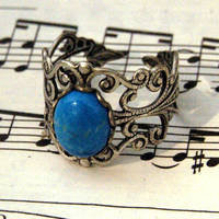 Howlite and Silver Ring - $17.00 : RagTraderVintage.com, Handmade Indie Retro Accessories