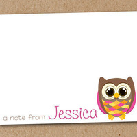 Personalized Note Cards Owl set of 8 by Luv2ScrapForU on Etsy