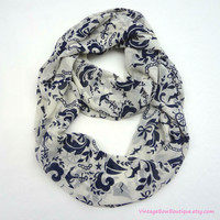 Infinity scarf - cream and navy blue anchor scarf - nautical - boho - hipster - chiffon
