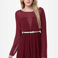 Come On Over Pleated Burgundy Dress