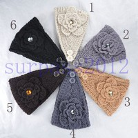 Big Size Flower Crysta Women Headband Hairband Lady Knit crochet Headwrap