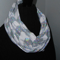 Chevron Infinity Scarf Stretch Knit Fabric Shiny Silver and White Zig Zag