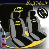 New Design 12 Pieces Batman Classic Logo Car Seat Covers Set Includes Front and Rear Seat Cover, Steering Wheel Cover, Seat Belt Covers and a Travel Size Purple Slice