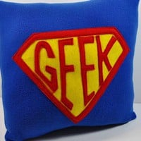 Super Geek Badge Fleece Royal Blue Pillow by YellowBugBoutique
