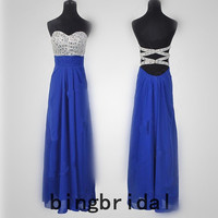 High quality beads Chiffon satin Prom Evening Homecoming Dress
