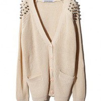 Beige Chunky Knitted V-neckline Cardigan with Rivet Embellished Shoulder