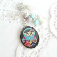 Nesting Doll Necklace - Childrens Matryoshka Doll Necklace - Vintage Inspired Nesting Doll Necklace