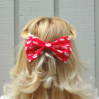 Red royal crown bow hair clip - big bow - bow barrette - kawaii - feminine