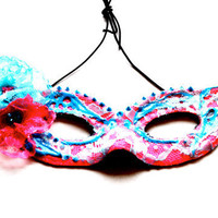 Pink Lace Masquerade Mask with Rave Pink and Blue by FeatherFunded