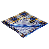 Blue & Orange Plaid Reversible Pocket Square - Default Title / Blue