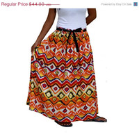 Valentine Sale Spring Fashion Skirt / Colorful Chevron Long Maxi Skirt Orange, Yellow, Red, White and Blue with Sash Belt / Ready to Ship