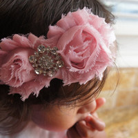 Adorable Pink Color Shabby Chiffon Fabric Flower Headband, Girl Headband, Baby Girl Headband, Infant Girl Headband, Newborn Girl Headband