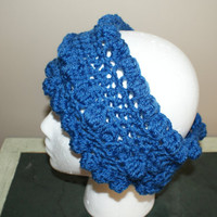 Blue Headband, Bumpy Headband, Ear Warmer Headband, Crochet Hairband, Crochet Ear band, Ski Headband, Blue Earwarmers, Wide Hairband