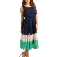 COLOR BLOCK PLEATED CHIFFON DRESS - BLUE GREEN IVORY   Tanny&#x27;s Couture LLC